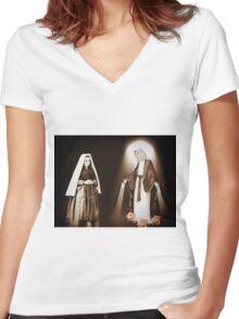 † ❤ † ❤ THE VISION OF SAINT BERNADETTE SOUBIROUS   † ❤ † ❤ Women's Fitted V-Neck T-Shirt
