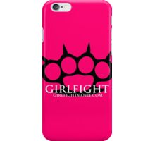 GIRLFIGHT - Black Brass Knuckles on Pink iPhone Case/Skin