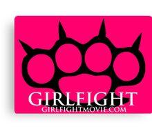 GIRLFIGHT - Black Brass Knuckles on Pink Canvas Print