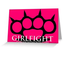 GIRLFIGHT - Black Brass Knuckles on Pink Greeting Card