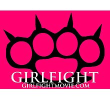 GIRLFIGHT - Black Brass Knuckles on Pink Photographic Print