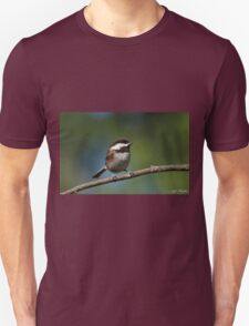 Chestnut Backed Chickadee Perched on a Branch Unisex T-Shirt