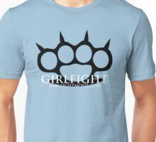 GIRLFIGHT - Black Brass Knuckles on Pink Unisex T-Shirt