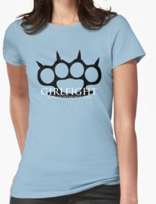 GIRLFIGHT - Black Brass Knuckles on Pink Womens Fitted T-Shirt