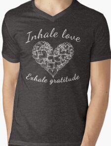 Yoga Breathe Inhale love Exhale Gratitude Mens V-Neck T-Shirt