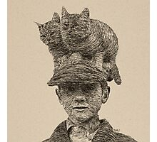 Cats On My Hat, Digital Drawing Photographic Print