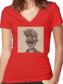 Cats On My Hat, Digital Drawing Women's Fitted V-Neck T-Shirt