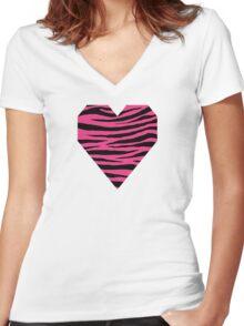 0121 Cerise Pink Tiger Women's Fitted V-Neck T-Shirt
