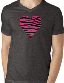 0121 Cerise Pink Tiger Mens V-Neck T-Shirt