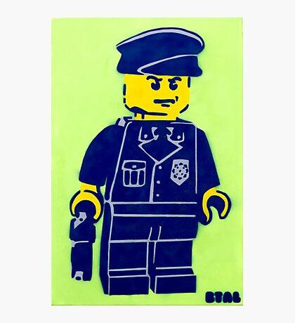 Lego Cop, Street Art, Spray Paint Stencil Photographic Print