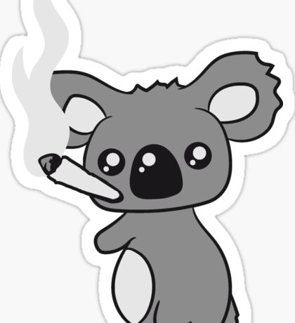 pothead weed hemp cannabis joint weed smoke pot high drug koala Sticker