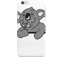 big fat hungry funny koala bear eating eucalyptus leaf frame umrandung text wall wall iPhone Case/Skin