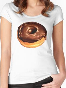 Chocolate Donut Pattern - Teal Women's Fitted Scoop T-Shirt