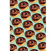 Chocolate Donut Pattern - Teal Photographic Print