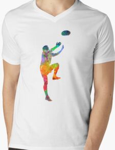 Rugby man player 05 in watercolor Mens V-Neck T-Shirt
