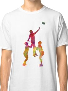 Rugby men players 01 in watercolor Classic T-Shirt