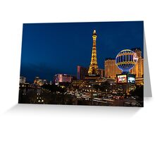 Las Vegas Blue Hour - Streaking Down the Strip in a Neon Rush Greeting Card