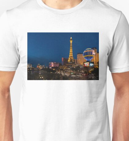 Las Vegas Blue Hour - Streaking Down the Strip in a Neon Rush Unisex T-Shirt