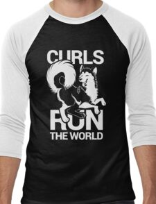 CURLS RUN THE WORLD Men's Baseball ¾ T-Shirt