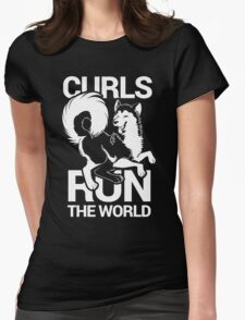 CURLS RUN THE WORLD Womens Fitted T-Shirt