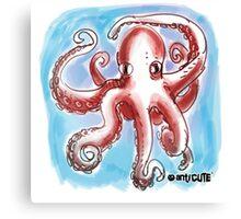 confused octopus cartoon style illustration Canvas Print