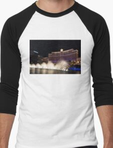 Midnight Dance - Silky Bellagio Fountains at Night Men's Baseball ¾ T-Shirt
