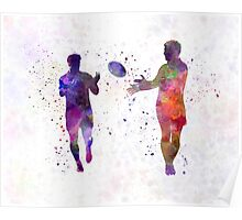 Rugby men players 04 in watercolor Poster