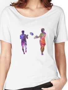 Rugby men players 04 in watercolor Women's Relaxed Fit T-Shirt