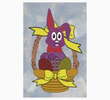 Bunny in a Basket Greeting Card One Piece - Short Sleeve
