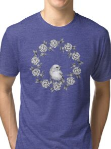 Chick and flowers. Watercolor illustration. Black and white Tri-blend T-Shirt