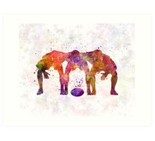 Rugby men players 05 in watercolor Art Print