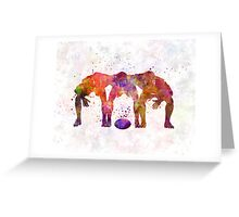 Rugby men players 05 in watercolor Greeting Card