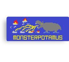 Monsterpotamus Pixel Canvas Print