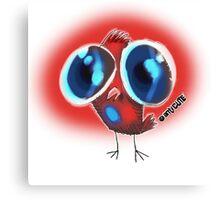 ugly huge eyes bird cartoon style Canvas Print