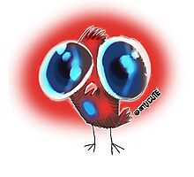 ugly huge eyes bird cartoon style Photographic Print