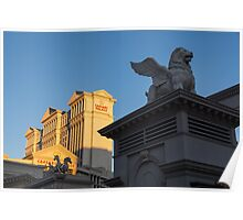 Shadow and Light - Las Vegas Sunrise with a Winged Lion at Caesars Palace Poster
