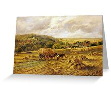 Henry Parker - Harvest Time, Lambourne, Berks Greeting Card