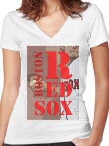 Boston Red Sox Typography wall poster Women's Fitted V-Neck T-Shirt
