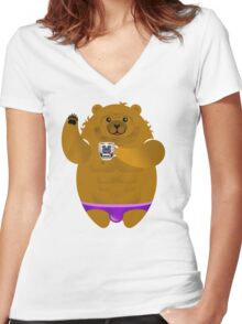 MORNING COFFEE BEAR! Women's Fitted V-Neck T-Shirt
