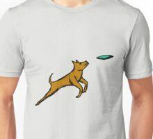 Dog Catching Frisbee Unisex T-Shirt