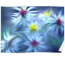 White Asters Abstract Impression Poster