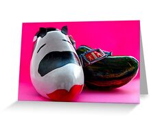 cow and a wooden shoe...Dutch art up cycled...Kuh, Holz und ein Schuh Greeting Card