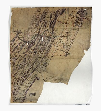 216 Map showing the routes of Brig Gen JB ie JD Imbodens command during the Pennsylvania campaign of 1863 Poster
