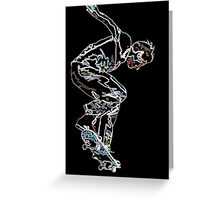 neon doodle skater Greeting Card