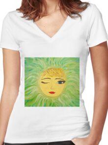 Sun Wink Women's Fitted V-Neck T-Shirt