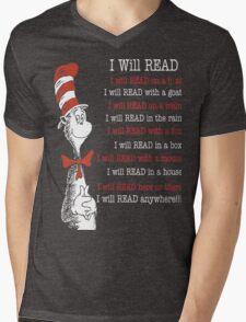 I Will Read - Read Across America Day 2016 Mens V-Neck T-Shirt