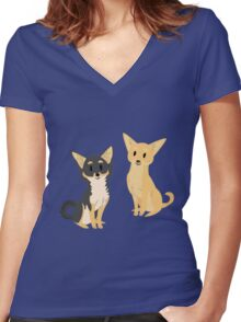 Cheeky Chihuahua Women's Fitted V-Neck T-Shirt