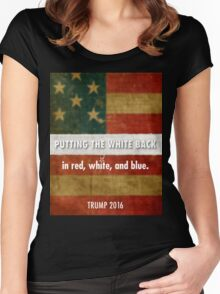 red, white and blue Women's Fitted Scoop T-Shirt