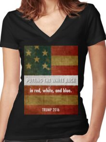 red, white and blue Women's Fitted V-Neck T-Shirt