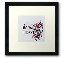 The tale of a beauty and her beast. Framed Print